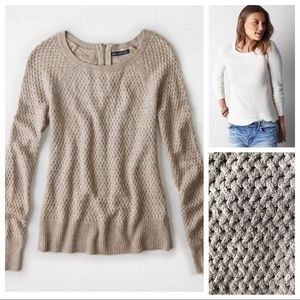 AEO Oatmeal Zip Back Texture Sweater